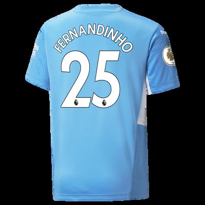 Kids Manchester City Home Shirt 21/22 with Fernandinho printing