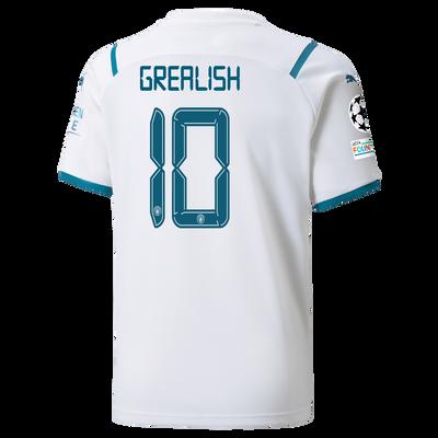 Kids Manchester City Away Shirt 21/22 with Jack Grealish printing