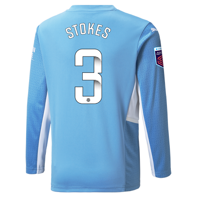 Kids Manchester City Home Shirt Long Sleeve 21/22 with Demi Stokes printing