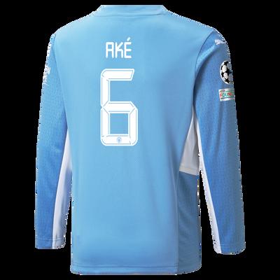 Kids Manchester City Home Longsleeve Shirt 21/22 with Nathan Aké printing