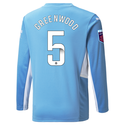Kids Manchester City Home Shirt Long Sleeve 21/22 with Alex Greenwood printing