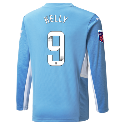 Kids Manchester City Home Shirt Long Sleeve 21/22 with Chloe Kelly printing