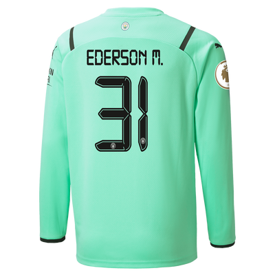 Kids Manchester City 3rd Goalkeeper Shirt 21/22 with Ederson printing