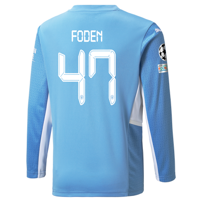 Kids Manchester City Home Longsleeve Shirt 21/22 with Phil Foden printing