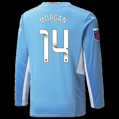 Kids Manchester City Home Shirt Long Sleeve 21/22 with Esme Morgan printing
