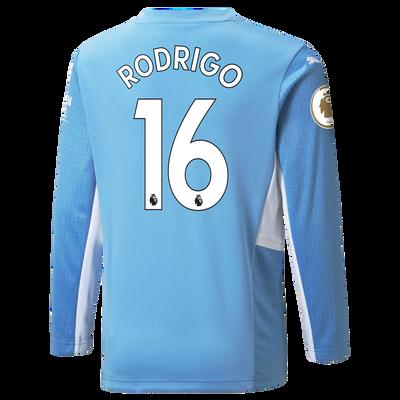 Kids Manchester City Home Longsleeve Shirt 21/22 with Rodrigo printing