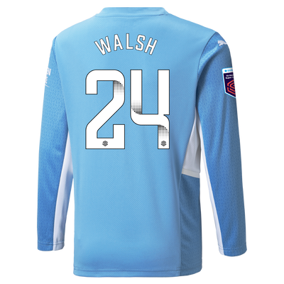 Kids Manchester City Home Shirt Long Sleeve 21/22 with Keira Walsh printing