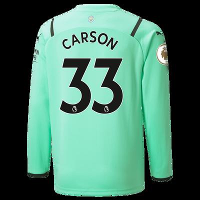 Kids Manchester City 3rd Goalkeeper Shirt 21/22 with Scott Carson printing