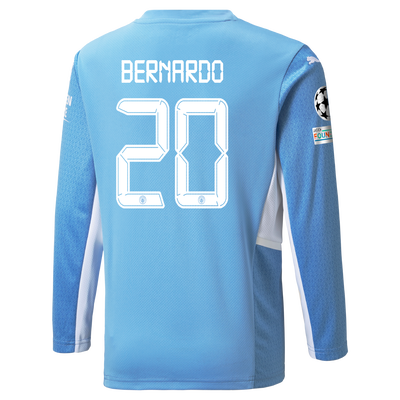 Manchester City Home Longsleeve Shirt 21/22 with Bernardo Silva printing