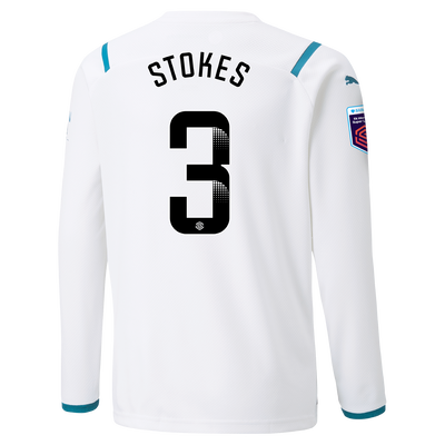 Kids Manchester City Away Shirt Long Sleeve 21/22 with Demi Stokes printing