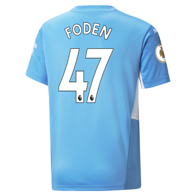 Kids Manchester City Home Shirt 21/22 with Phil Foden printing