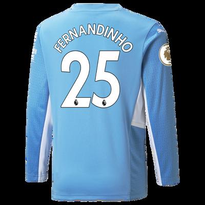 Manchester City Home Longsleeve Shirt 21/22 with Fernandinho printing