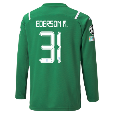 Kids Manchester City Goalkeeper Shirt 21/22 with Ederson printing