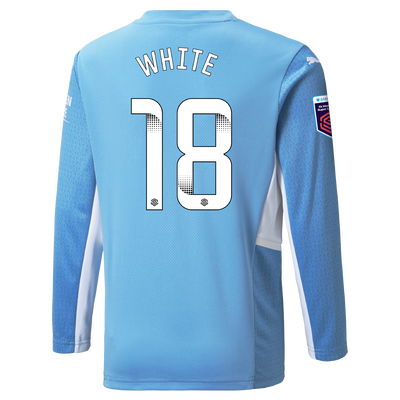 Kids Manchester City Home Shirt Long Sleeve 21/22 with Ellen White printing