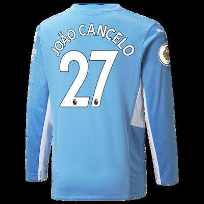 Kids Manchester City Home Longsleeve Shirt 21/22 with João Cancelo printing