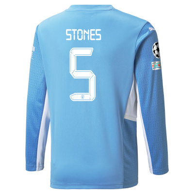 Manchester City Home Longsleeve Shirt 21/22 with John Stones printing