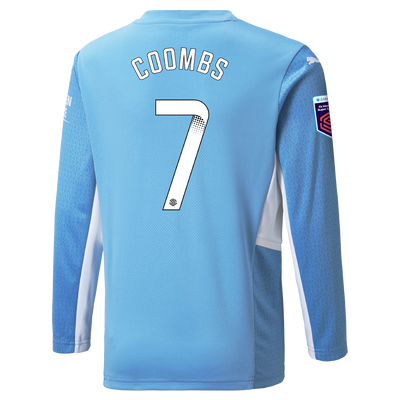 Kids Manchester City Home Shirt Long Sleeve 21/22 with Laura Coombs printing